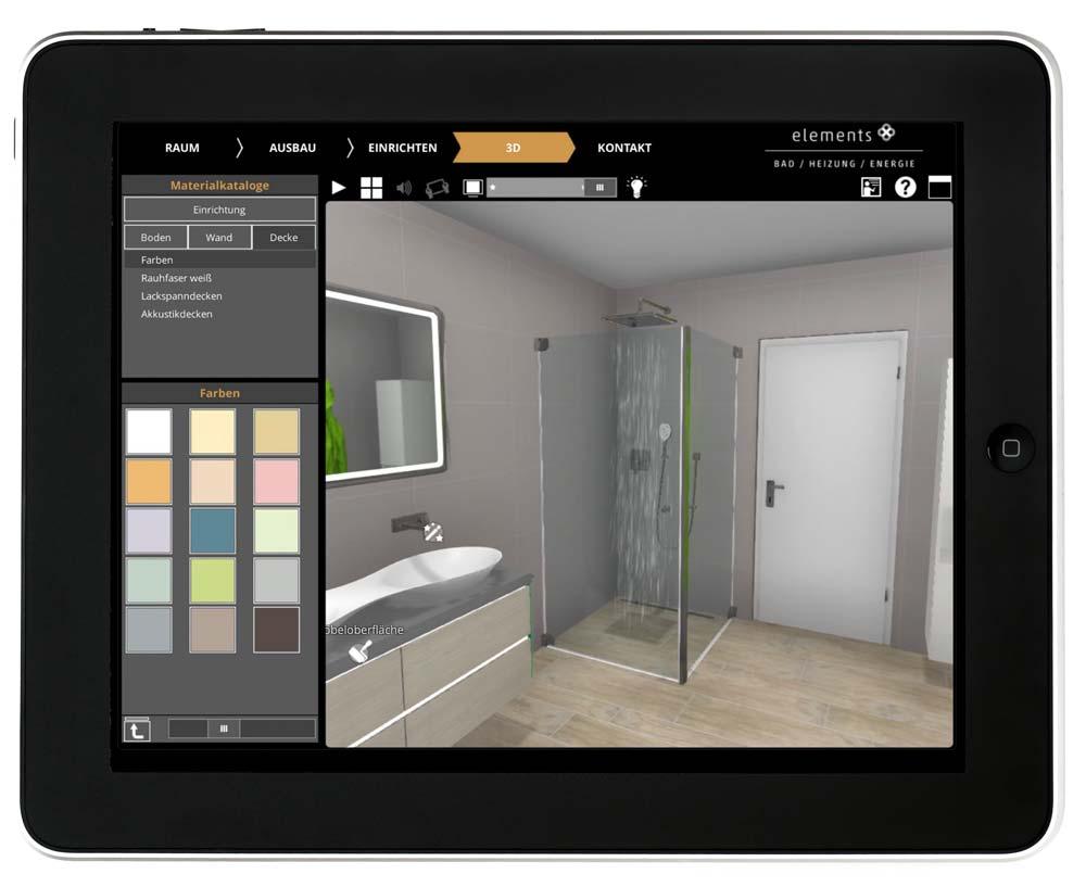 Elements 3D Badplaner auf einem Tablet