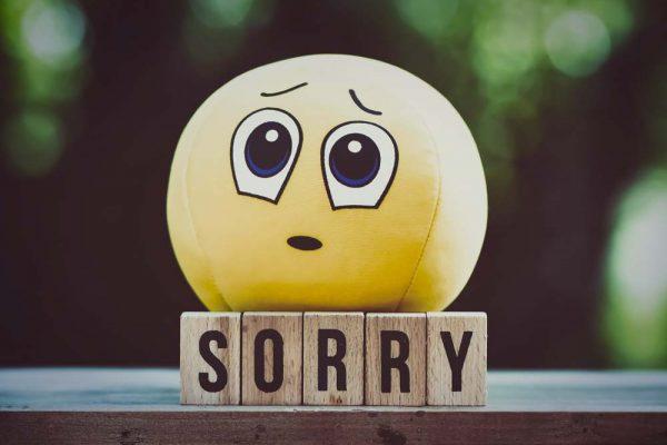 Smiley mit Buchstaben Sorry